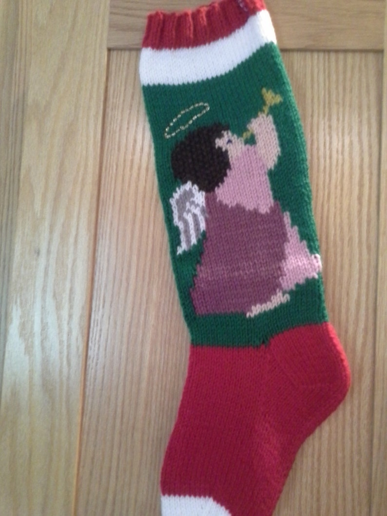 Personalized Hand Knit Angel Christmas Stocking