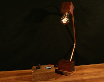 Lamp in walnut, padouck and copper box with remote.