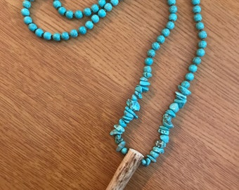Real deer antler turquoise necklace