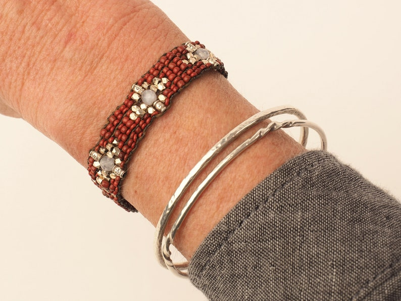Hand Loomed Red African Trade Bead and Thai Silver Beaded Bracelet Fine Silver End Cap Clasp