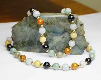 Vintage 14K Gold Jade Bead Necklace, Multi-Color Jade Necklace, Chinese Gold and Jade Bead Necklace, Nephrite Jade, 585 Jewelry