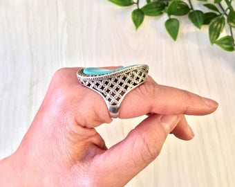 Vintage Silver Ring | Turquoise Ring | Marcasite Jewelry | Vintage Jewelry | Lattice Jewelry | Lattice Work | Statement Ring | Blue | Ring |