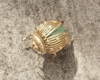 Vintage 14K Gold & Aventurine Ladybug Brooch Pin, Green Gemstone Wrapped In Yellow Gold, Large Ladybug Brooch, 585 Jewelry