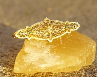 "Antique 10K Gold Filigree Diamond & Emerald Bar Pin, Ornate Yellow Gold Brooch, .03 CT Round Diamond, Accent Green Emerald Gemstone, 2"" L"