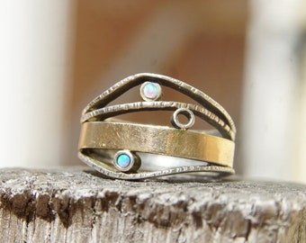Vintage Modernist Two-Tone Sterling Silver & Opal Ring, Textured Silver Band With Gold Wash And Accent Opal Gemstones, Israeli, 7 1/2 US