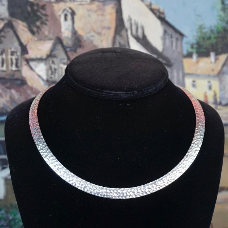 925 Italy Milor Silver Choker Hand Hammered Sterling Collar Vintage Italian Sterling Silver Hammered Choker Minimalist Silver Jewelry