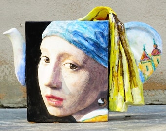 Signed Noi Volkov 06 'Vermeer Teapot' 6/59, Hand Painted Sculpture Inspired By Girl With The Pearl Earring & View Of The Delft, Ear Handle