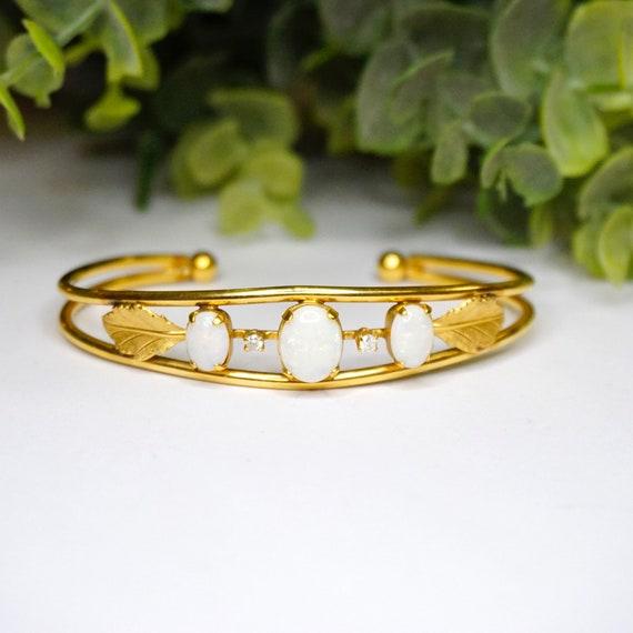 Vintage 14K Gold Filled Imitation Opal Bracelet Cu