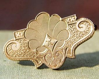 "Victorian 10K Rose Gold Engraved Brooch/Pendant, Ornate Antique Gold Brooch, Art Nouveau Style, 1 1/2"" L"