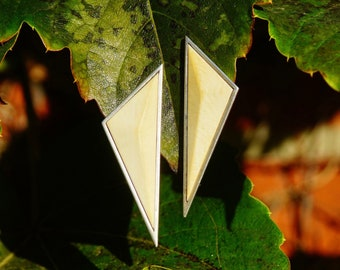 "Vintage Sterling J Woolsey Modernist Bone Inlay Stud Earrings, Triangular Statement Earrings, Geometric Silver & Bone Studs, 2 1/8"" L"