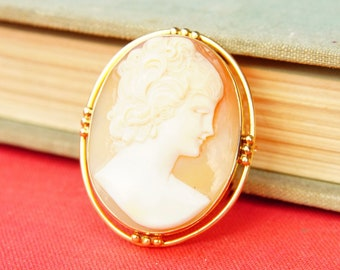 """Victorian 14K Yellow Gold Cameo Brooch/Pendant, Beautiful Antique Cameo Pin, Classic Relief Carving, Gold Drop Setting, 1 5/8"""" L"""