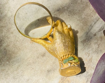 Vintage Marhill USA Textured Gold Tone Magnifying Glass, Ornate Gold Hand With Pearl Ring and Jadeite Bracelet, Unique Tchotchke