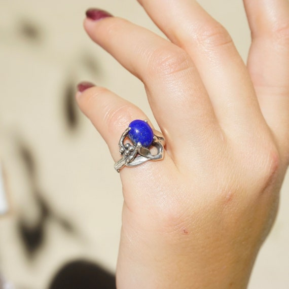 Vintage Lapis Lazuli and Sterling Silver Ring, Mod