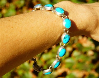 """Vintage TAXCO Sterling Silver & Turquoise Link Bracelet, Mexico 925, 10 Turquoise Stones, Accent Curb Chain Links, Toggle Clasp, 9"""" L"""