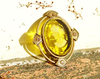 """Vintage Extasia Hand Pressed Glass Intaglio Cameo Drop Earrings, Transparent Yellow Glass Cameos, French Hook Earrings, Signed EXT, 7/8"""" L"""