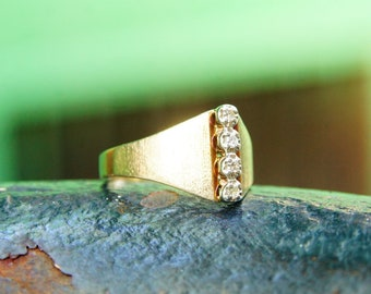 Vintage 14K Gold Diamond Ring, 4 Brilliant Diamonds In Single Row Setting, .06 TCW, Wide Tapered Gold Band, Size 6 3/4 US