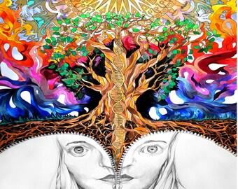 Trippy psychedelic art design animal kingdom poster