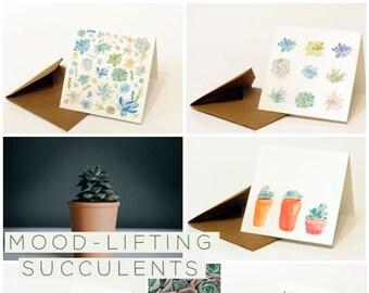 Mini Greeting Cards (Set of 10)—Mood-Lifting Succulents