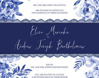 Fine China  — Navy Blue Floral Wedding Invitation