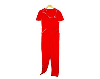 2b2addf4b95 vintage sailor suit - red jumpsuit with white piping detail in sailor style  with bib and short sleeves perfect for spring and summer