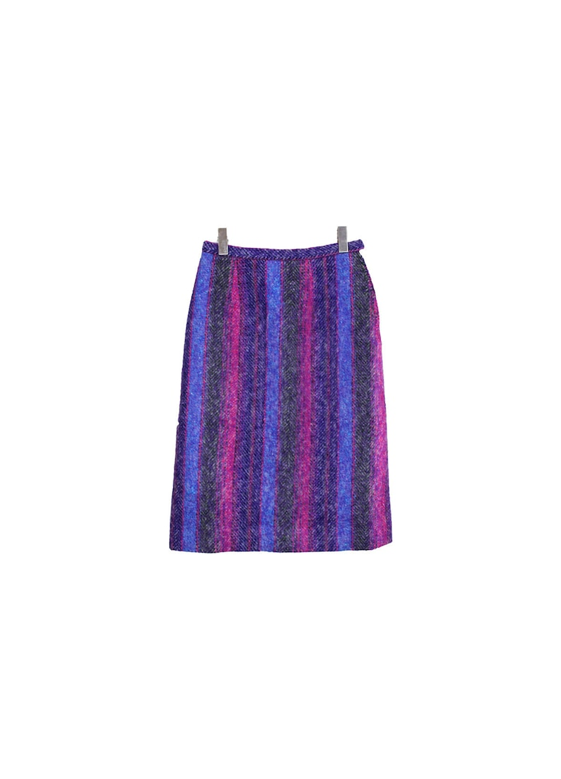 a-line skirt in striped pink purple blue vintage rainbow wool skirt