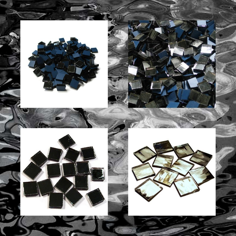 Gun Metal Silvercoat SQUARE Mirror Mosaic Tiles Stained Glass