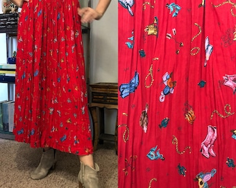 Vintage Cowboy Boots Red Pattern Skirt