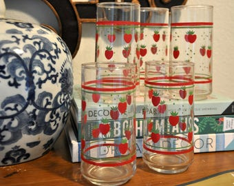 Vintage Anchor Hocking Strawberry Tumblers, Set of 5 Glasses// SALE