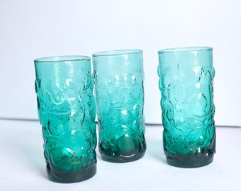 Vintage Green Glass Tumblers, Set of 3