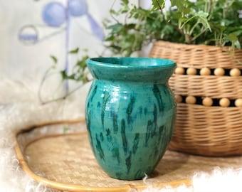 Teal Ceramic Dripware Vase
