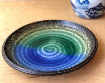 Green and Blue Glazed Stoneware Dish