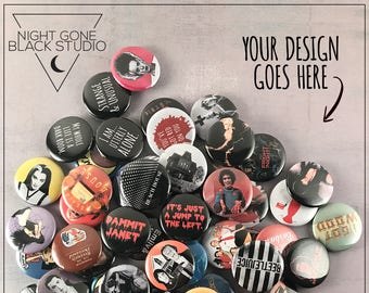 "Custom 1"" Pinback Button Set of 10 - Made to Order!"