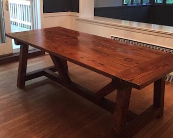 Farmhouse Dining Table W/ Truss Beam Legs | Kitchen Table | Rustic  Farmhouse Table | Farmhouse Table | Rustic Dining Table