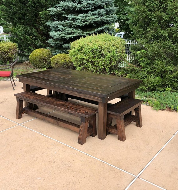 Farmhouse Patio Table Outdoor Dining Table Handcrafted Solid Cypress Table Traditional Farmhouse Legs Table Outdoor Furniture Garden Table