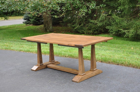 Extendable Trestle Dining Table Extending Farmhouse Style Etsy