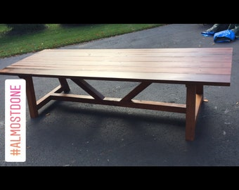 French Beam Cedar Rectangular Outdoor Dining Table