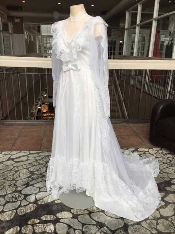 Vintage Hochzeitskleid Langarm 1987 Etsy