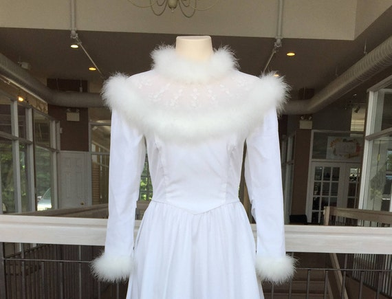 Vintage Fur Lined Wedding Gown #472