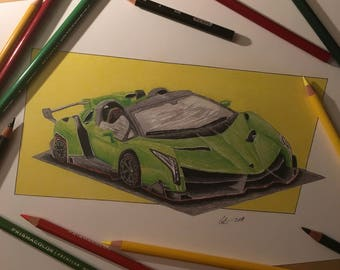 Lamborghini Veneno Drawing, Car Illustration, Color Pencil Drawing (Print)