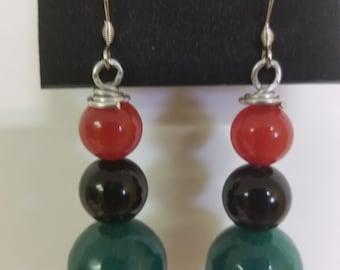 Red black green earrings