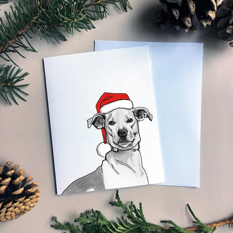 Christmas Card With Dog Portrait Christmas Dog Card Etsy