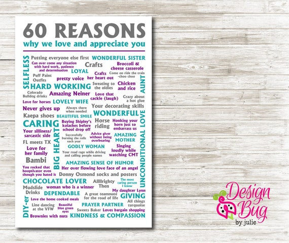 60 Reasons Why We Love You Poster | Etsy