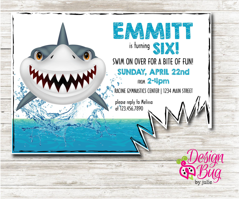 Shark Birthday Invite | Etsy