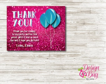 Pink Glitter Birthday Thank You Card