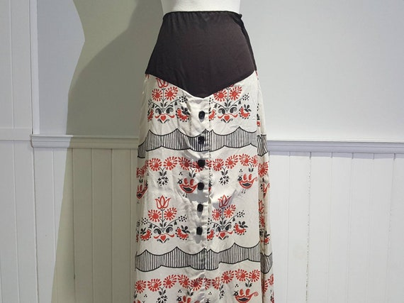 Vintage 60s Skirt; 1960s Skirt; Vintage Floral Ski