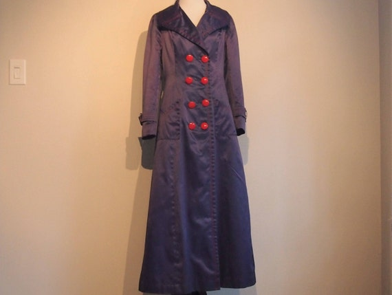 Vintage 1969 Trench Coat; Blue Trench Coat Woman
