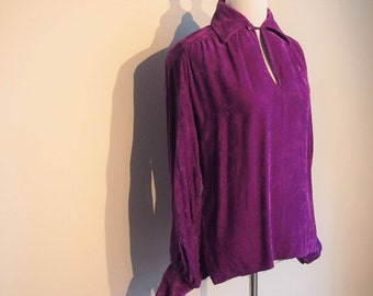 Vintage 1970's Velour Shirt; Purple Shirt