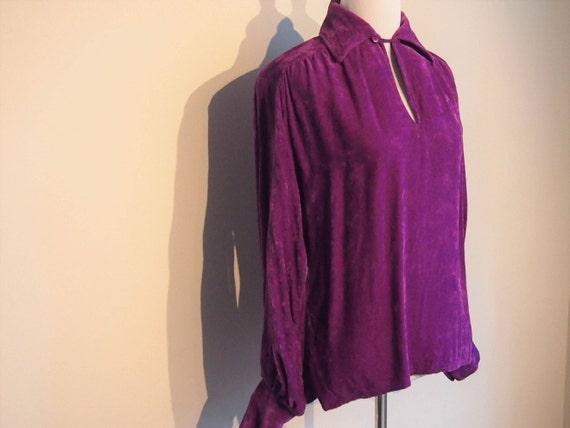 Vintage 1970's Velour Shirt; Purple Shirt