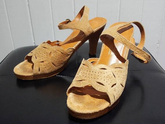 Suede Heels; 70s Heels; Vintage Heels