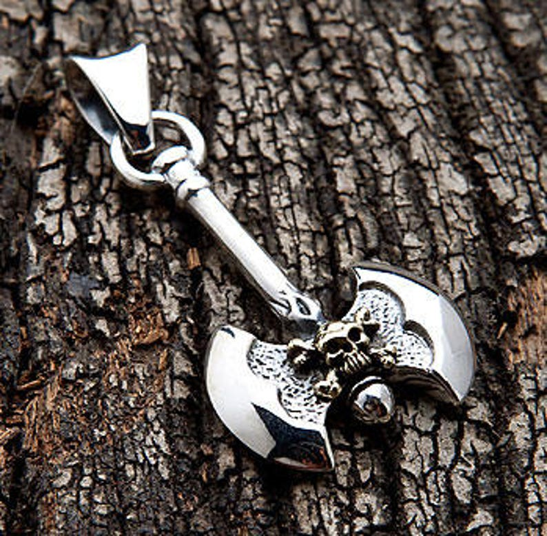 Solid 925 Sterling Thai Silver Pendant Cross Axe Men/'s